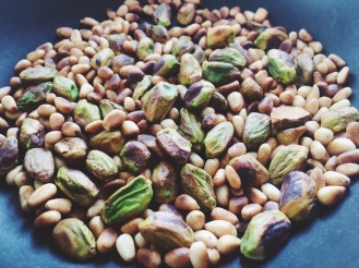 toasted pinenutes and pistachios