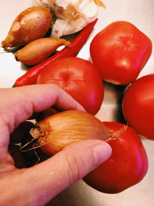 tomatoes, shallots, garlic